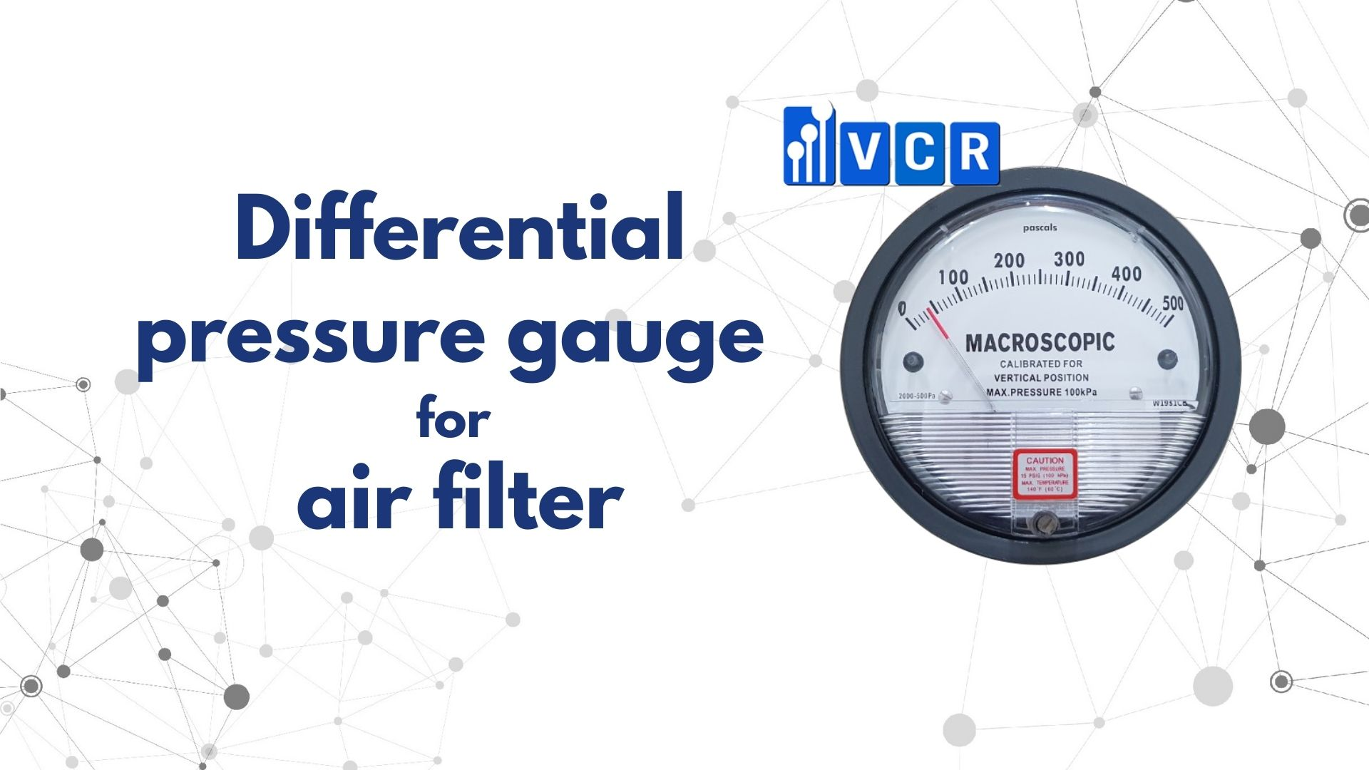 Differential pressure gauge for air filter